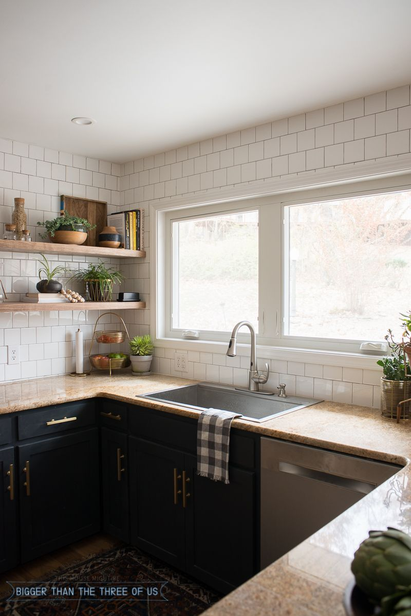 Kitchen make overs  Kitchen Reveal with Dark Cabinets and Open Shelving  Dark blue