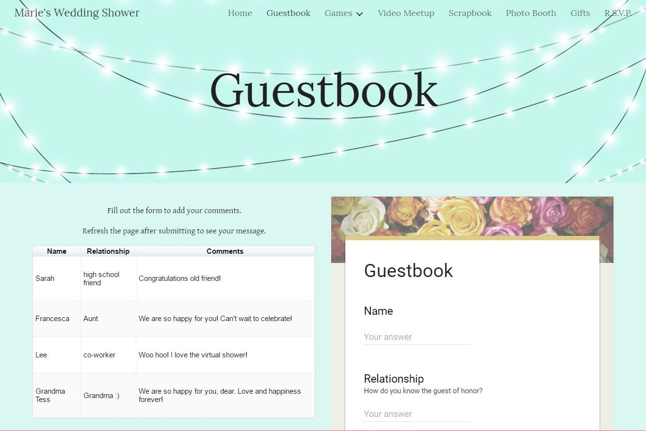 Host A Virtual Wedding Shower With Your Own Personalized Event Website Guests From Near And