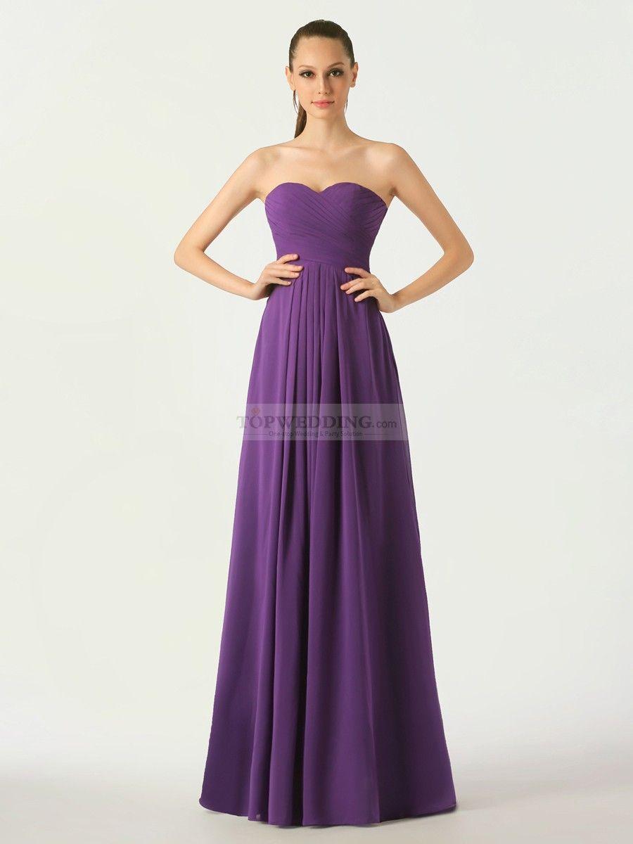 Rosanie - una línea strapless vestido de damas de honor de gasa ...