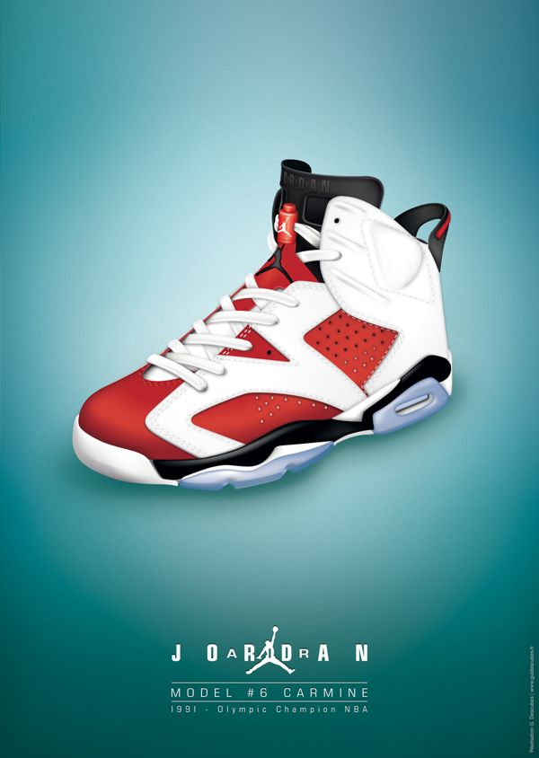 low cost 8930a 54564 Dessin Nike Air Jordan VI Carmine by Guillaume Descubes, via Behance  affiche, poster, graphic, design, illustrator, illustration, picture,  infography, ...