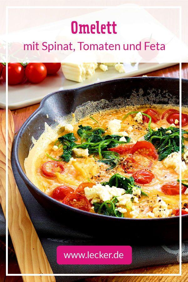 Omelett mit Spinat, Tomaten und Feta