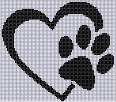 Paw Heart Cross Stitch Pattern   Bügelperlen, Stricken und Handarbeiten