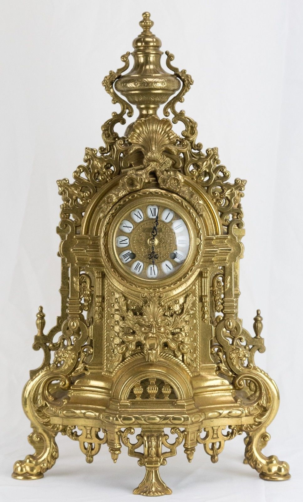 My Ornate brass mantle Franz Hermle clock embossed