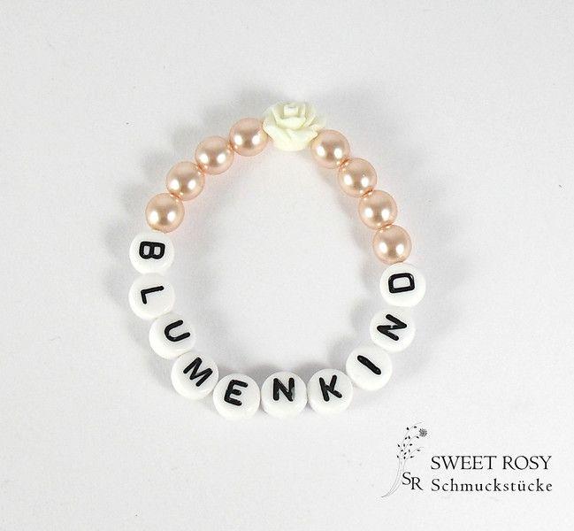 accessoires blumenkind armband perlen rose buchstaben. Black Bedroom Furniture Sets. Home Design Ideas