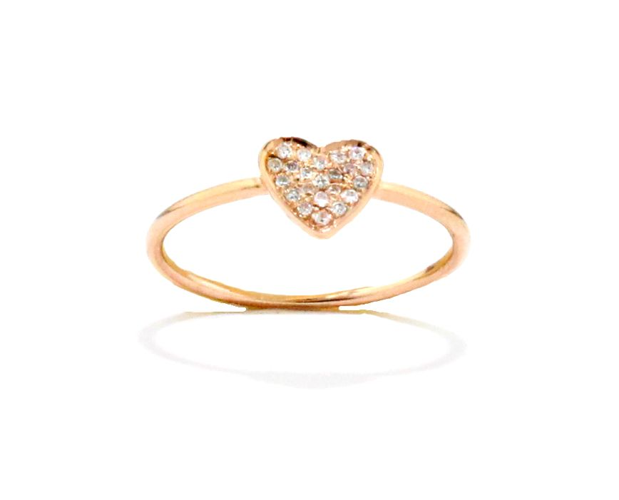 This darling little heart shaped fourteen karat rose gold ring has