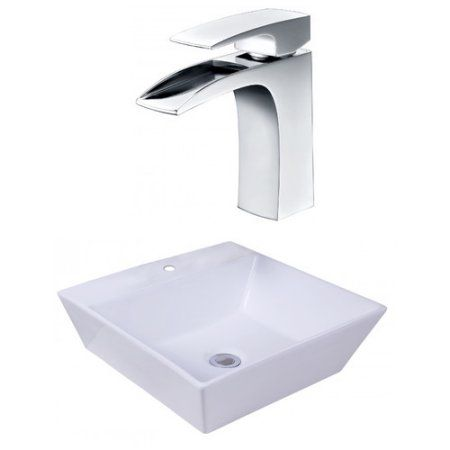 16.93-in. W x 16.93-in. D Square Vessel Set In White Color With Single Hole Cupc Faucet
