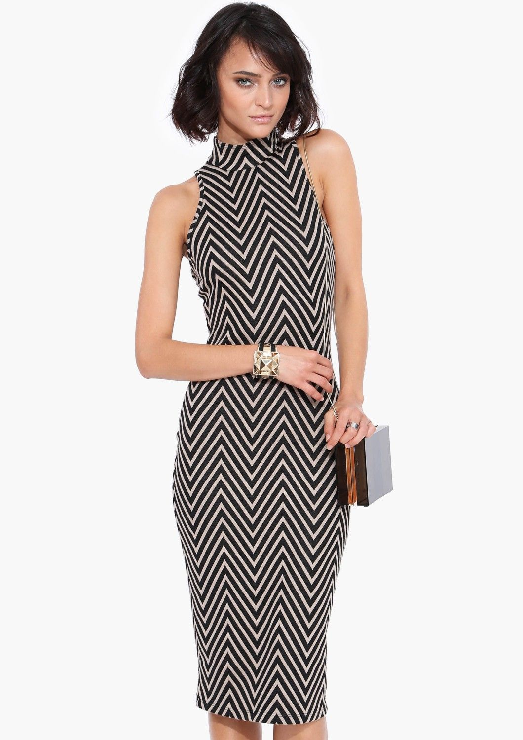 Chevron Midi Dress in Black | Necessary Clothing
