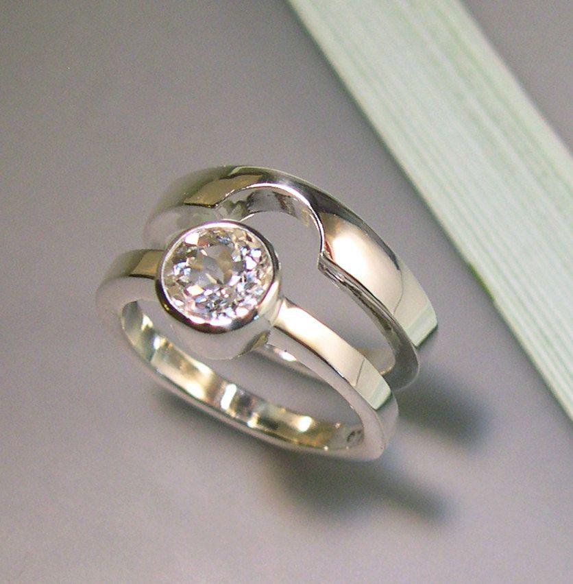 Silver Or White Gold Topaz Wedding Band Set Sterling Par Chrismuellerjewelry 170