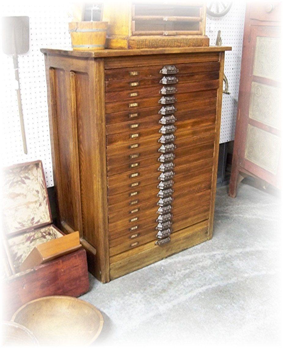 Antique HAMILTON Letterpress CABINET with 20 Printer Block Drawers ...