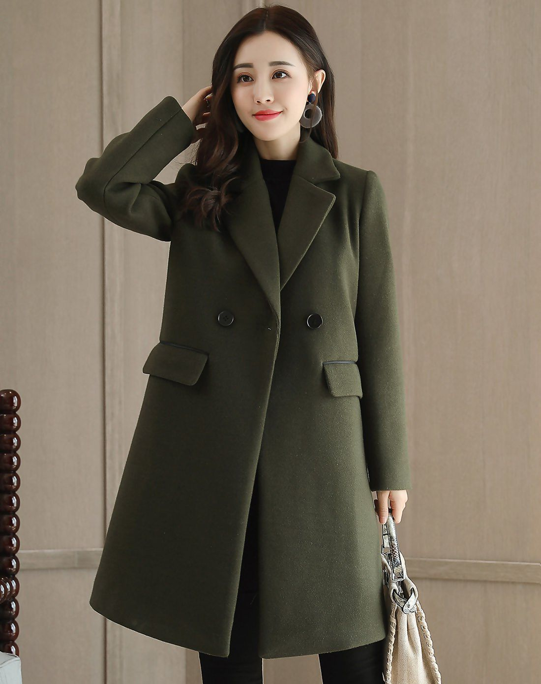 3e6617c1e0f9  VIPshop Green Lapel Double Breasted Long Sleeve Shift Women s Coat ❤ Get  more outfit ideas and style inspiration from fashion designers at VIP.com.