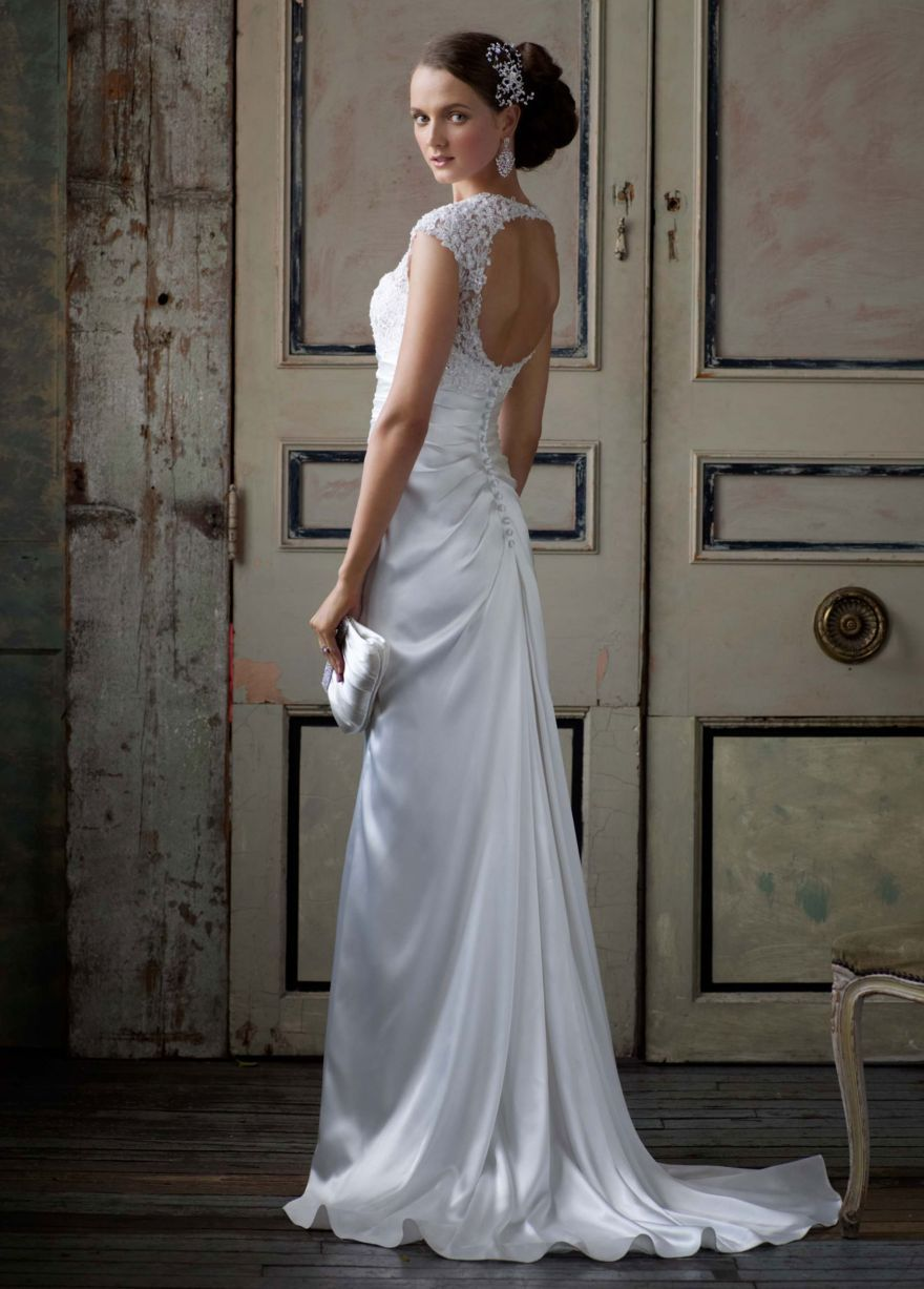 Slim charmeuse gown with lace keyhole back style t davidus