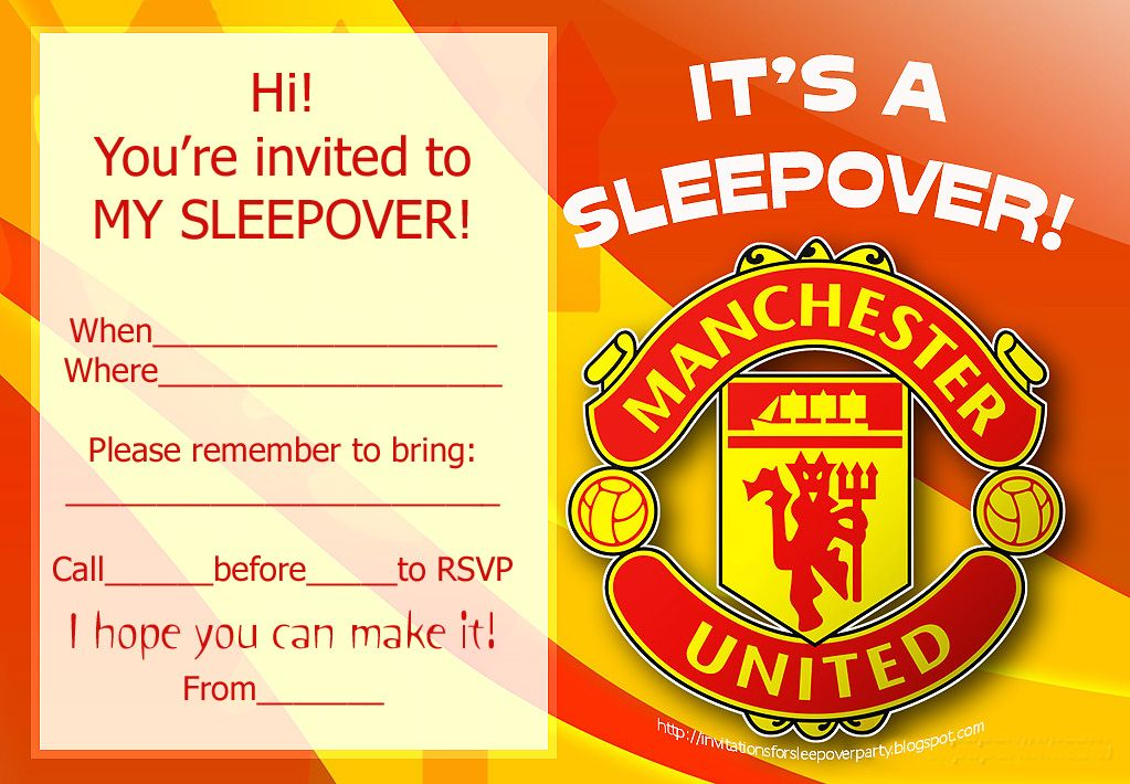 Wedding Invitations Manchester: INVITATIONS FOR SLEEPOVER PARTY: MANCHESTER UNITED AND