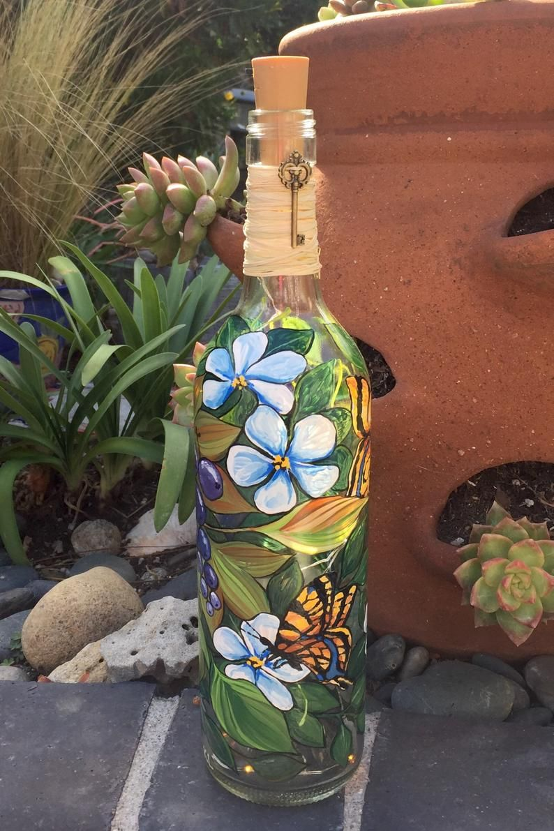 Lighted Wine Bottle. Patio Decor. Home Decor. Gift for Her ...