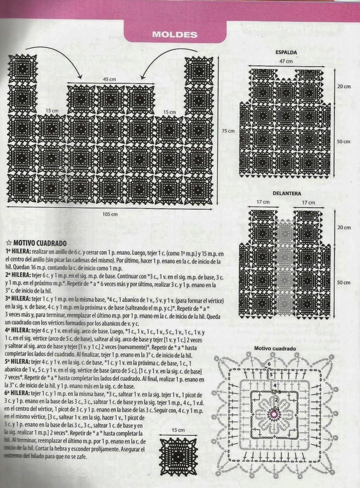 Chaleco Cuadrados de Crochet | CHAQUETAS, CHALECOS Y ABRIGOS DE ...