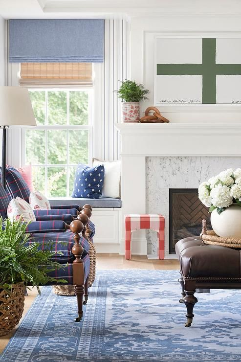 Best Blue Plaid Accent Chairs Sit Side By Side On A Blue Rug 400 x 300