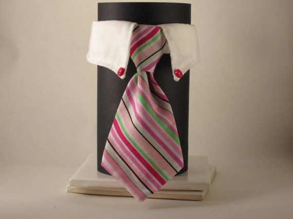 Pink and Mint Striped Cat Tie and Collar by SewSmooth on Etsy, $17.00