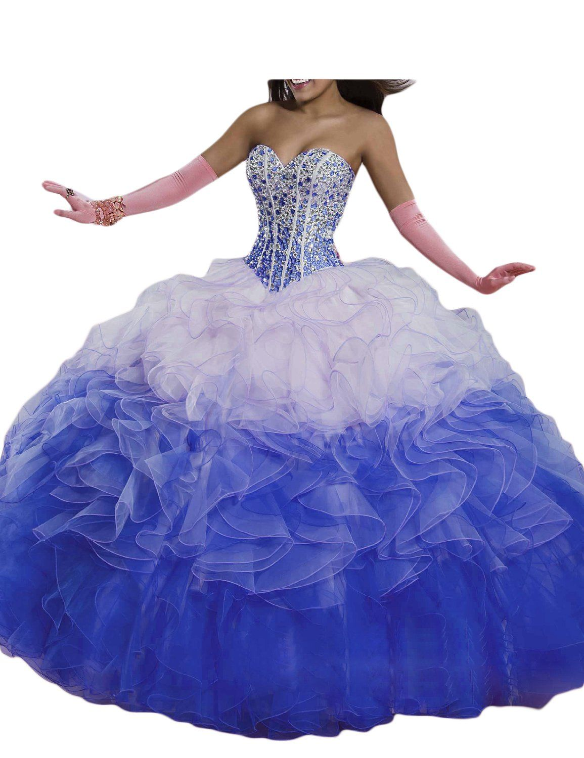 Oyisha womens strapless bodice ombre ball gown prom quinceanera