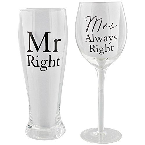 Amore Mr Right and Mrs Always Right by Amore Pint  Wine Glass Gift Set -- Details can be found by clicking on the image.