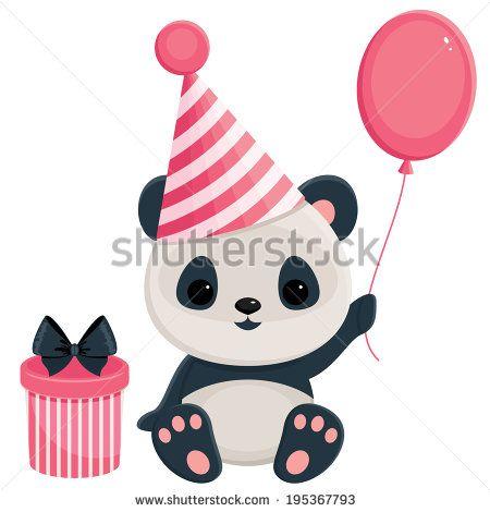 Birthday Panda With Gift Box And Balloon Panda In Pink Cosas Lindas Para Dibujar Panda Lindo Panda Cumpleanos