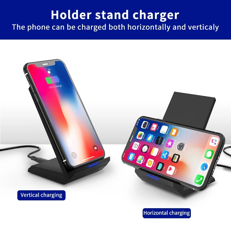 Qi Wireless Charger Stand For Iphone X Xs 8 Xr Samsung S9 S10 S8 S10e 15w Station Phone Charger In 2020 Samsung S9 Charger Stand Wireless Charger