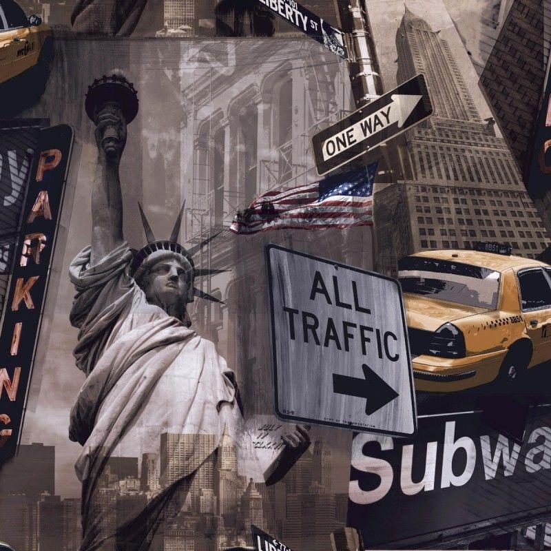 New York City Taxi Cab Wallpaper Liberty By Ideco Home For Grandeco Pob 002 02 5 Wallpaper Luxury Wallpaper Diy Wallpaper