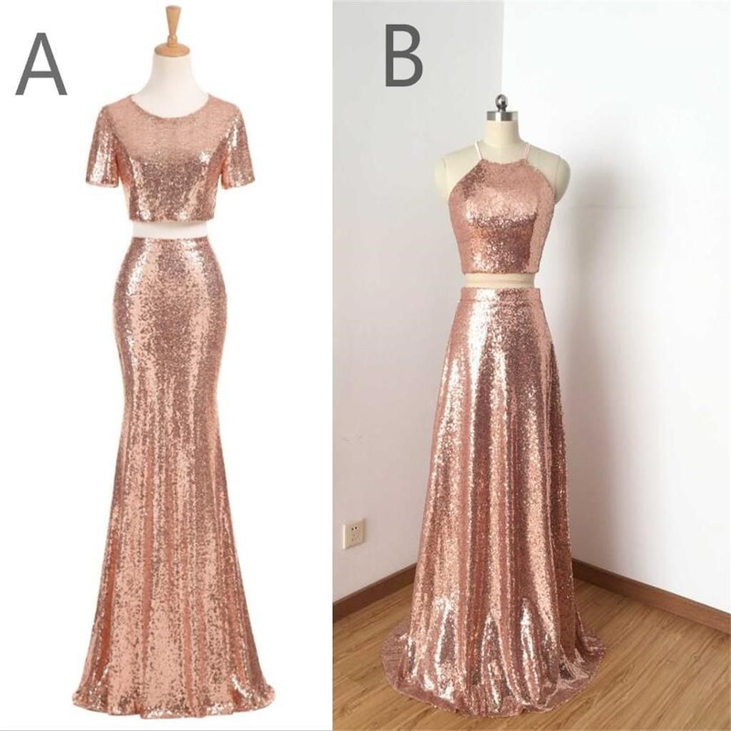 Charming rose gold sequin two pieces long popular fashion prom dress