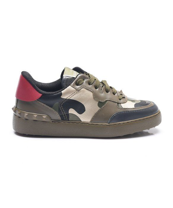 VALENTINO Camouflage Rock Stud Sneakers. #valentino #shoes #shoes