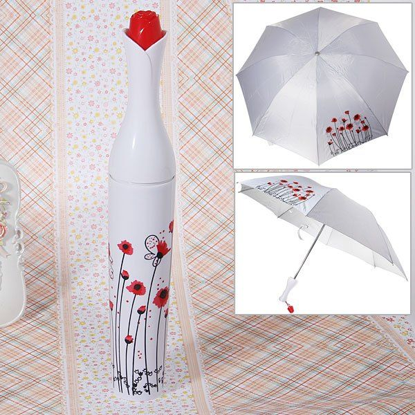Small Rose Winebottle Shaped Flower Patterned Mini Triple-folding Umbrella with Hard Tube Cover (White)