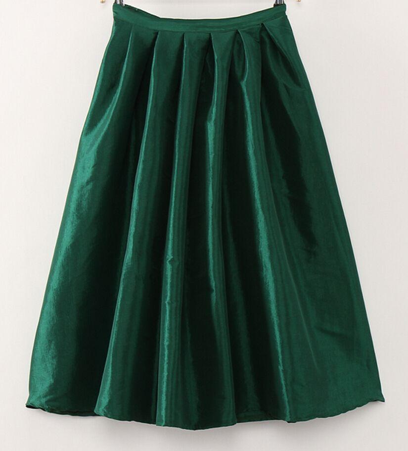 4be6aa4c09 歐美赫本高腰復古百褶綠色蓬裙¥59 A字中裙法式複古百褶蓬蓬半身裙高腰 (小新小娜¥45)