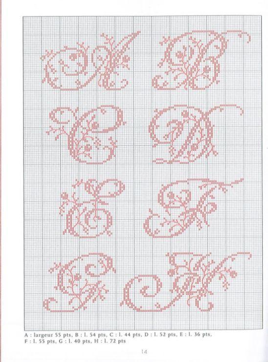 4 belles lettres au point de croix - Grille point de croix lettre ...