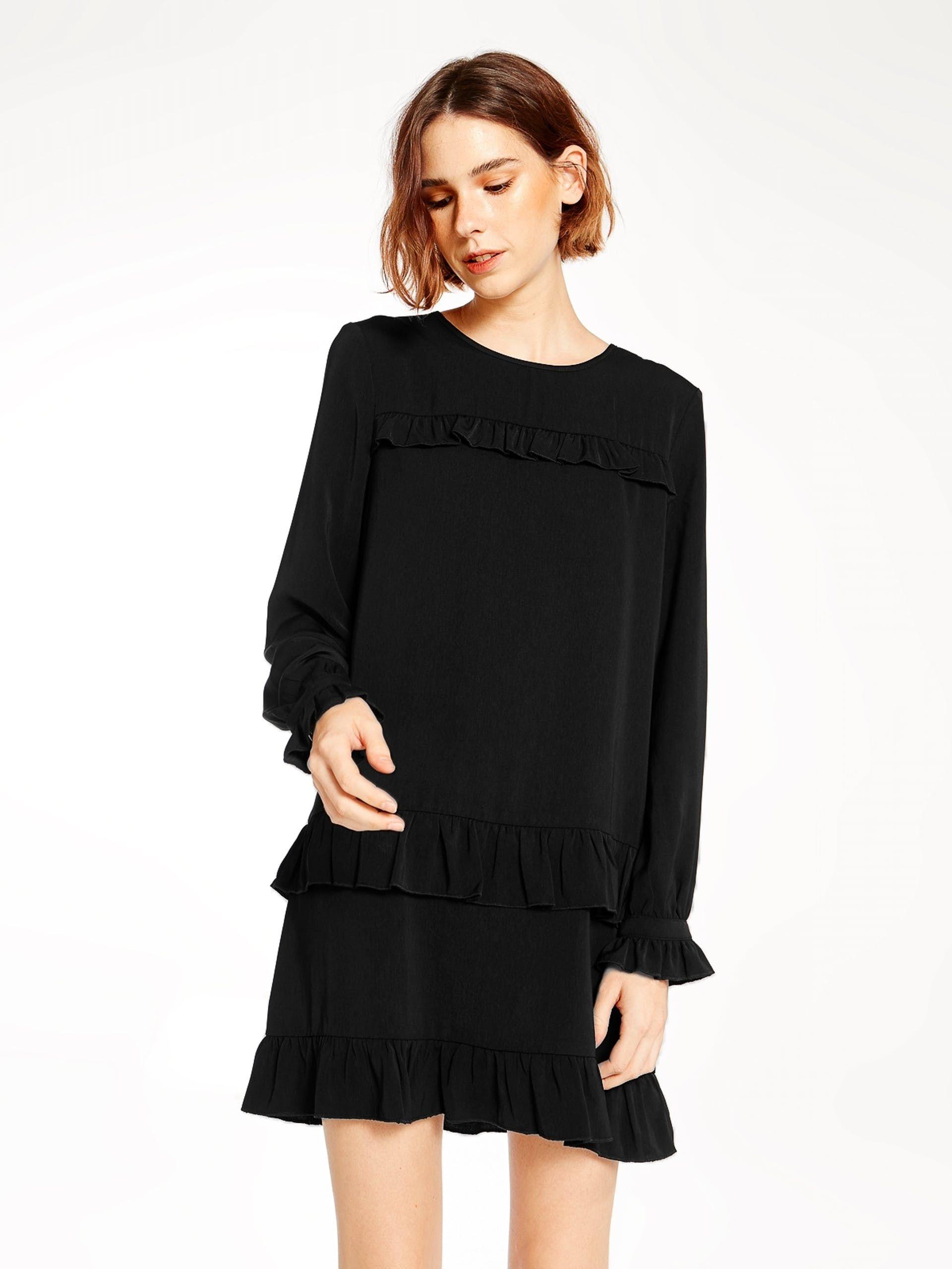 Kalisha Long Sleeve Ruffle Dress Black Pomelo Singapore pleats