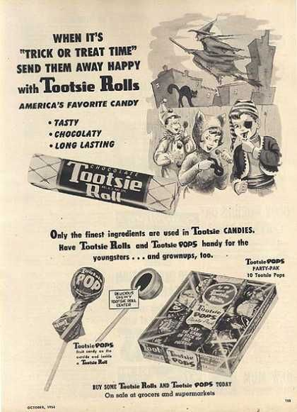"""Tootsie Rolls candy 1954 """"40 VINTAGE ADVERTISEMENTS FOR HALLOWEEN"""" I love the illustration and the graphic of retro advertisement, always make me smile! So i selected for you 40 vintage ads for Halloween. Hope you will enjoy! Happy Vintage Halloween!!"""