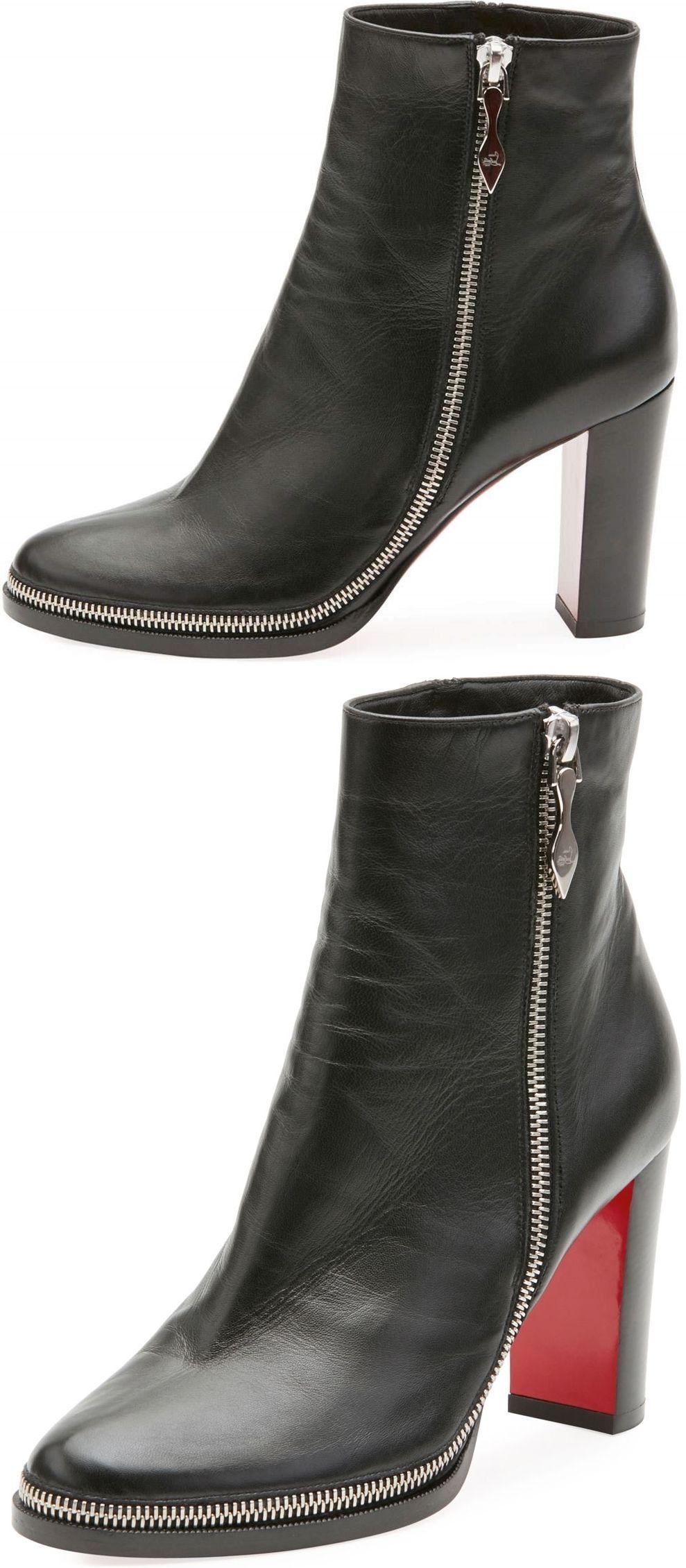 premium selection 7214f d3401 Christian Louboutin's black nappa leather Telezip ankle ...