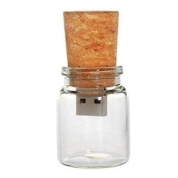 Frete Grátis Garrafa De Vidro com Cork USB Flash Drive (transparente) 100% da Capacidade Total 4 GB 8 GB 16 GB 32 GB presente especial para os amantes