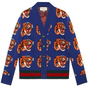 5024a260b Gucci Tiger Jacquard Wool Cardigan | men's design ideas | Mens ...
