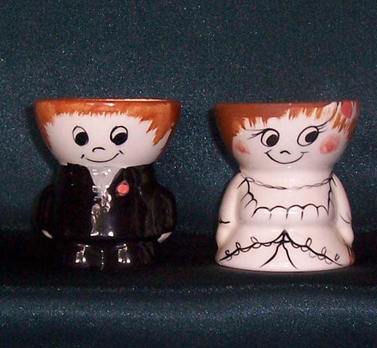 Bride and groom egg cups. Part of the Egg-Centric Collection, Australia