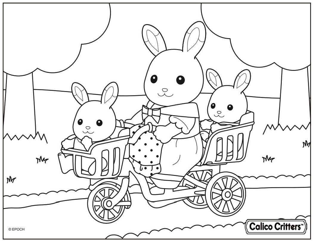 Calico Critters From Left Baby Sister Grace Hopscotch Rabbit Mother Heidi Hopscotch Rabbit And Ba Family Coloring Pages Family Coloring Bunny Coloring Pages
