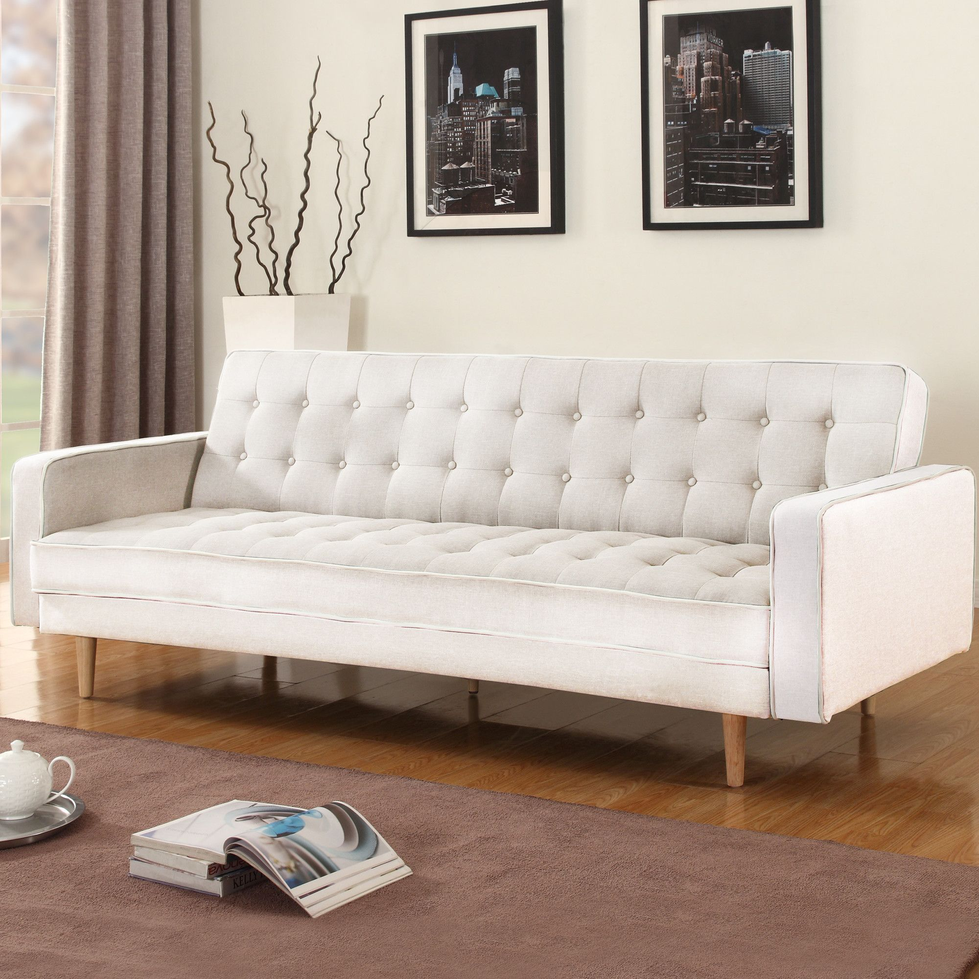 Features Easy Conversion To Sleeper And Back Sofa Soft Linen Upholstery Product Type Convertible Style Modern Frame Material Wood