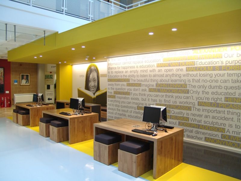 Library entrance at anglia ruskin swanky and modern for Interior design agency nottingham