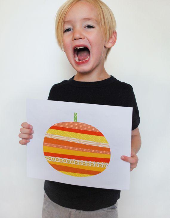 Paper Strip Pumpkin Art