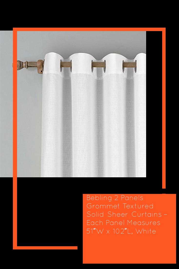 Bebling 2 Panels Grommet Textured Solid Sheer Curtains Each