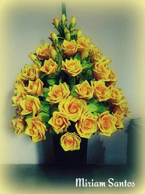 Arranjo Canto De Sala Com Rosas Grandes Em Eva Arranjos De
