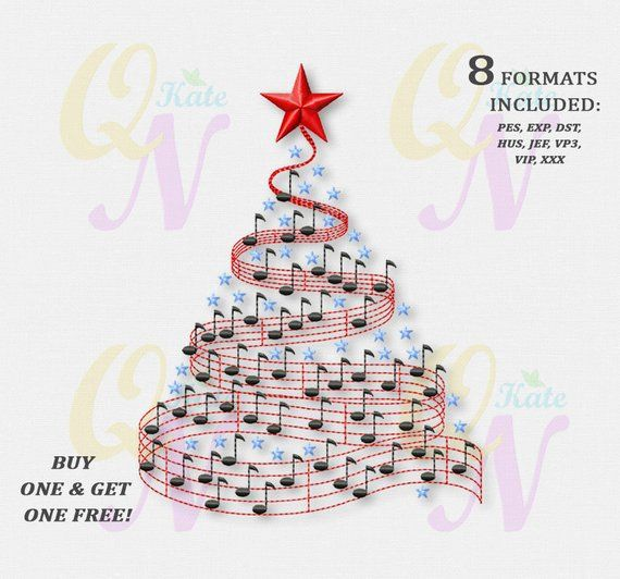Bogo Free Musical Christmas Tree Machine Embroidery Design