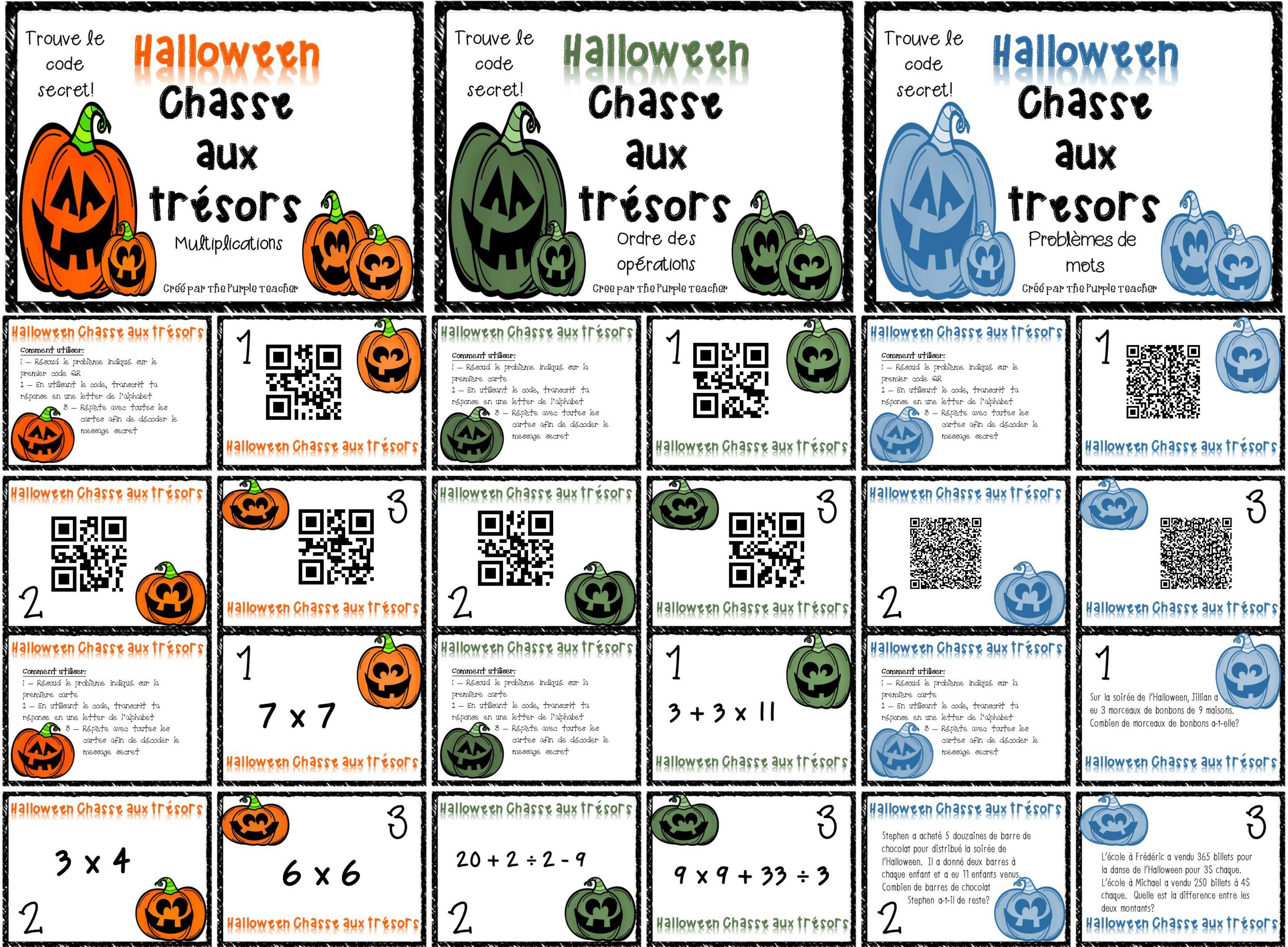3 Activites De Mathematique Pour Halloween Avec Code Qr