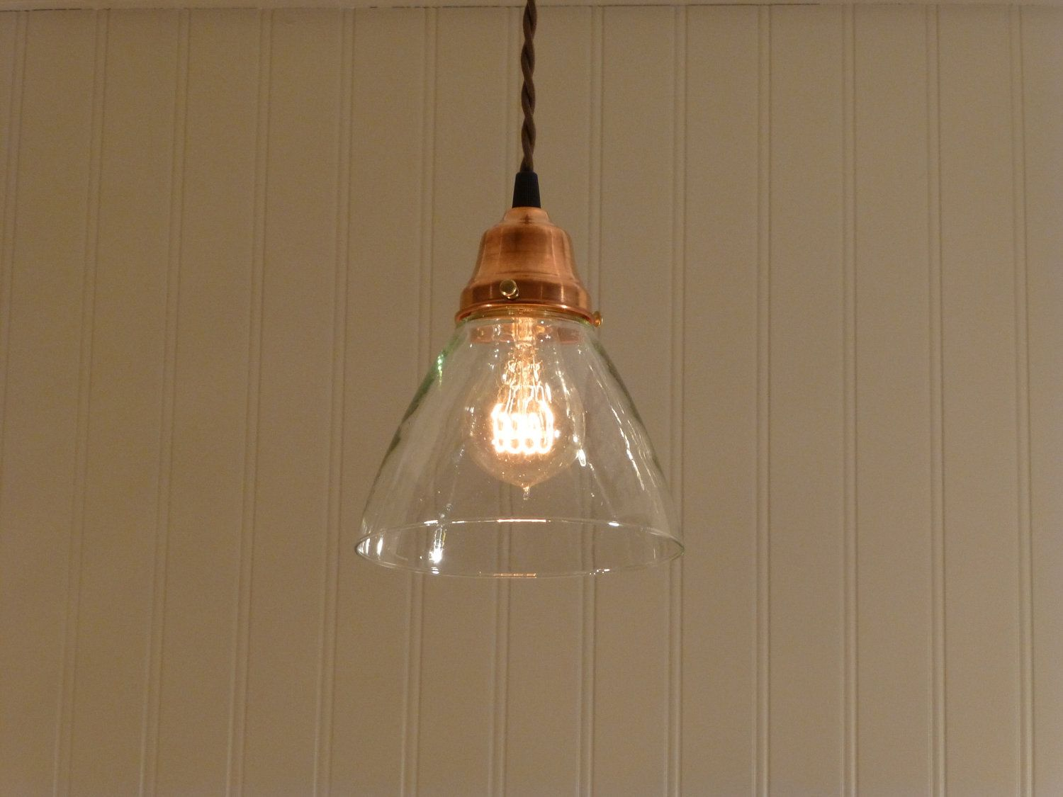 Copper Pendant Light With Hand Blown Glass Funnel Shade
