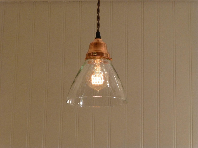 hand blown glass pendant lighting. Copper Pendant Light With Hand Blown Glass Funnel Shade. $78.00, Via Etsy. Lighting