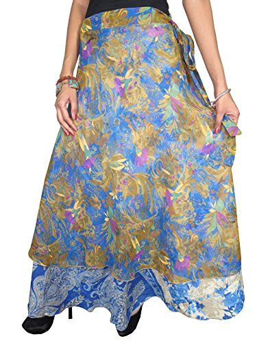 Vintage Silk Sari Skirt Blue Floral Print Reversible Wrap Skirt Magic Dress Mogul Interior http://www.amazon.com/dp/B00OXJTUNW/ref=cm_sw_r_pi_dp_tQItub07BR90N
