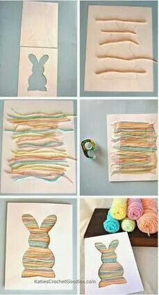 Simple but cute Easter cards with scraps of wool and cut out shape (could use for any theme, change wool and shape)