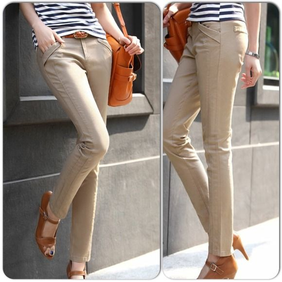 """⚡️FLASH⚡️New Khaki Pants New in original packaging. Wear those khaki pants casually or dressed up. Fit that gives the illusion of elongated legs! Waist measures approx. 14.5"""" across laying flat, rise 8.75"""". Please ask all questions or for additional pics before purchasing. Pants"""