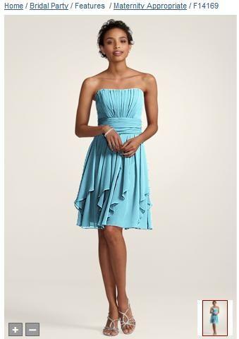 David\'s Bridal bridesmaid dresses in pool blue crinkle chiffon http ...